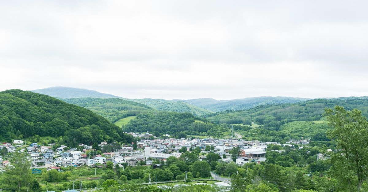町の中心部全景