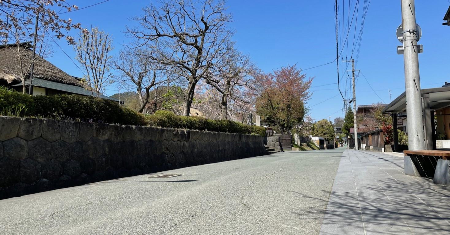 施設が面する武家屋敷通り。今も4軒の茅葺民家が軒を連ねている。